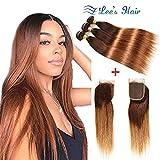 Fastest Shipping Ombre Brazilian Virgin Hair Straight Hair Bundles with Closure(18''20''22''+16'Closure) 2 Tone Ombre Brazilian Human Hair Weave Bundles and Closure T4/30 Medium Brown/Auburn.