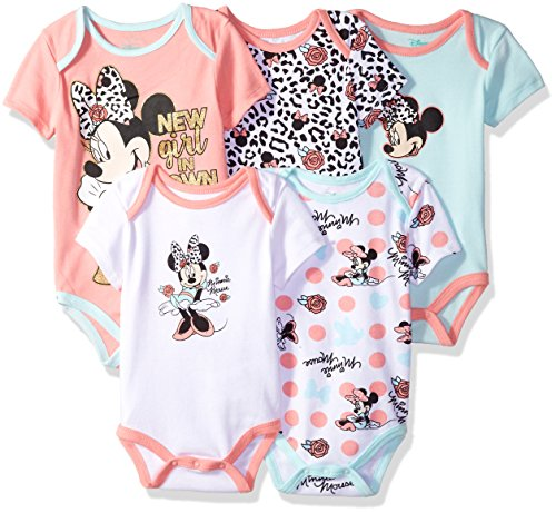 Disney Baby Girls Minnie Mouse 5 Pack Bodysuits, Multi/Salmon Rose Pink, 24M