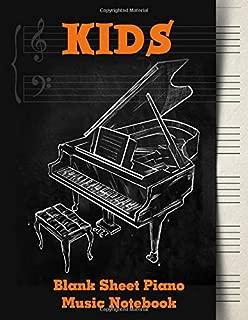 Blank Sheet Music Notebook Kids: Wide Staff Music Manuscript Paper | Orange and Black Design (Piano Music Composition Books)