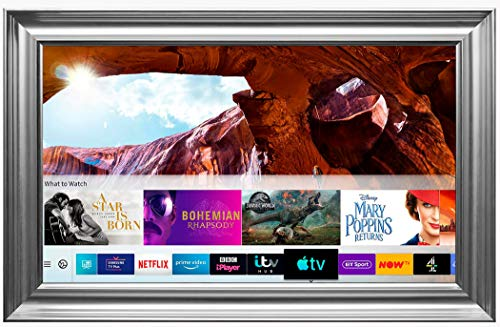 Framed Mirror TV with Samsung Q60 4K Ultra HD HDR Smart LED TV - Spoon Frame (55 inch, Silver)