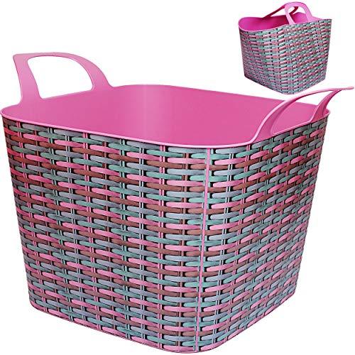 Flexi & flexibel - XXL großer Garteneimer / Eimer / Wäschekorb / Trog / Bottich - Blumentopf / Pflanzkübel - geflochten - rosa - pink bunt - 48 Liter - Tasche..