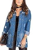 Sevozimda Le Giacche di Jeans Strappati Buco Cappotto Lungo Manica Lunga Giacca di Jeans Outwear Blu S