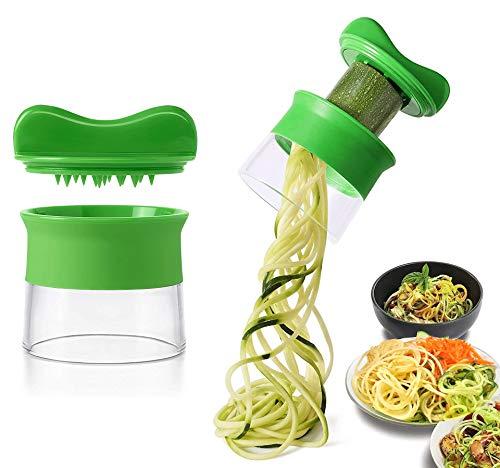 KOMUSII Spiralschneider Hand für Gemüsespaghetti,Spiralschneider für Gemüsespaghetti,Gemüse Spiralschneider,Zwiebelschneider für Obst Zucchini Spaghetti,Zwiebeln,Karotten, Gurke