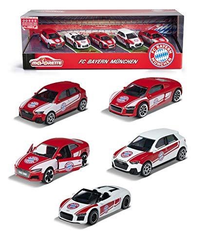 Majorette FC Bayern München 5er-Geschenkbox, Spielzeugautos mit Freilauf und Federung, 5 Stück inkl. 2 exklusive Modelle, Audi A1, Audi S5, Audi R8 Coupé, zwei exklusive Modelle: Lewandowski & Neuer