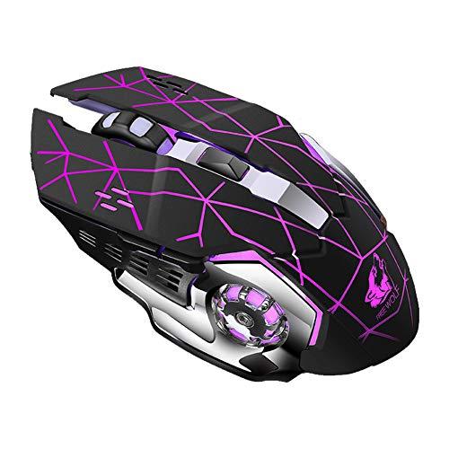 ZIXIXI Ratón inalámbrico, USB 1800DPI óptico ergonómico para videojuegos, inalámbrico óptico para juegos y oficina, ahorro de energía dual, para ordenador portátil, PC, Windows