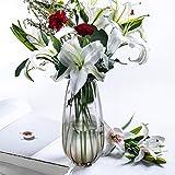 CJJC Florero de Cristal Grande, Arte Moderno Simple del florero de Las Rayas Decorativo para la Tienda casera de la Sala de Estar, 15 X 35cm, Gris