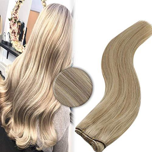 YoungSee Blond Echthaar Tressen Remy Menschliches Haar Weaving Extensions Dunkles Aschbraun Strähnchen mit Blond Weave Weft Bundles Extensions Echthaar Glatt 100g 45 cm
