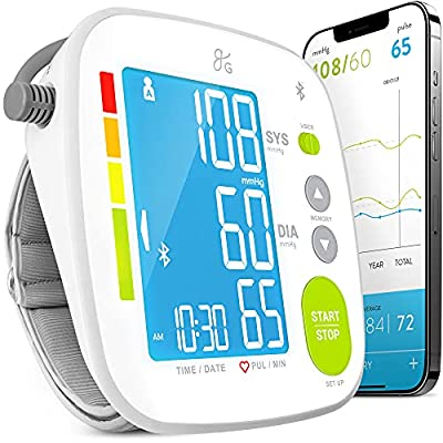 Bluetooth Blood Pressure Monitor Cuff by Balance with Upper Arm Cuff, Digital Smart BP Meter With Large Display, Set also comes with Tubing and Device Bag from Greater Goods