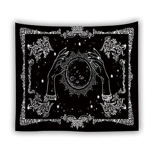 Astrología brujería tapiz colgante de pared sol negro hippie tapiz retro tela hogar dormitorio tapicería manta mantel A3 180x200cm
