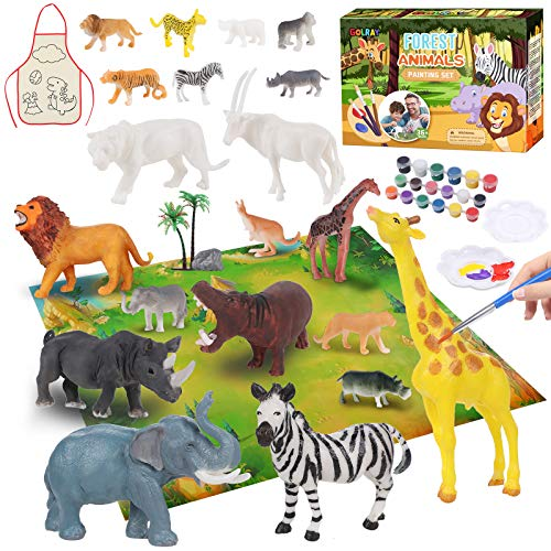 Tierfiguren Malset Tierfiguren Selber Gießen zum Bemalen und Basteln Tier Spielfiguren Malset Kinder DIY Kreativ Spielzeug Geburtstag Weihnachten Geschenk für Kinder Jungen Mädchen 4 5 6 7 8 9 Jahre