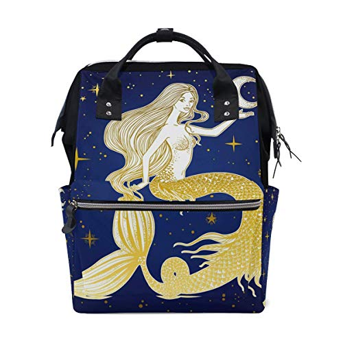 Diaper Backpack Ocean Sea Animal Mermaid Galaxy Multi-Function Large Capacity Baby Changing Bags Zipper Casual Stylish Travel Backpacks for Mom Dad Baby Care
