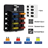 TR Turn Raise Caja de Fusibles 8 Vías Portafusibles con Lámpara de Alerta LED Kit para Coche Barco (fusibles incluidos y terminales de conexión)