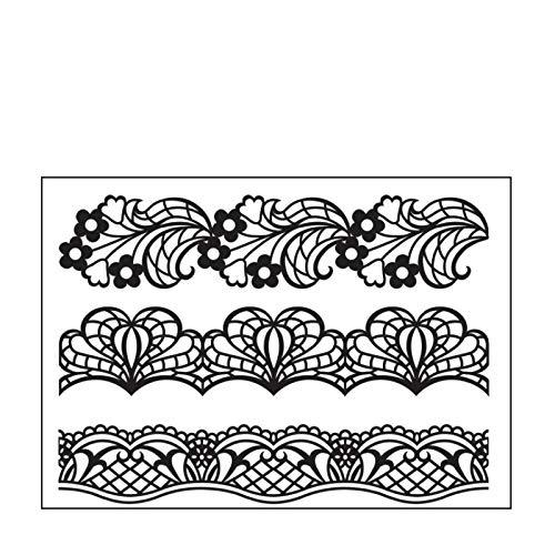 Darice 30008393 Embossing Folder-Classeur de Gaufrage-Modèle Bord Napperon-10,8 x 14,6 cm, Plastique, Transparent, 10,8 x 14,6 x 0,3 cm