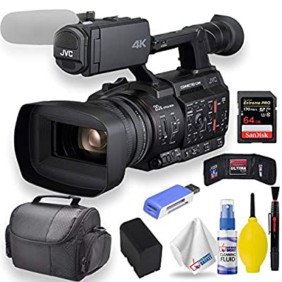 """JVC GY-HC500U Handheld Connected Cam 1"""" 4K Professional Camcorder W/Soft Case + Sandisk Extreme Pro 64GB Card + Clean and Care Set + More - Starter Bundle by JVC"""