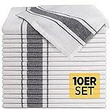 Loco Bird 10er Set Geschirrtücher aus Baumwolle - 45x75cm grau weiß gestreift - Hochwertiges Handtuch für die Küche - Premium Küchenhandtücher - Geschirrhandtücher zum Abtrocknen