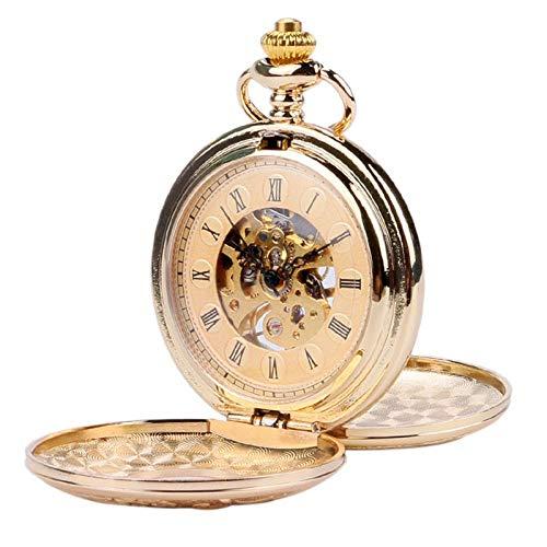QULONG Reloj de Bolsillo, Oro, Antiguo, mecánico, Esqueleto, Doble Lado Abierto, números Romanos, Colgante con Cadena Fob