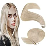 YoungSee Platinum Blonde Tape in Hair Extensions Human Hair Double Sided Remy Tape on Human Hair Extensions Blonde 22 Inch 10Pcs 25G