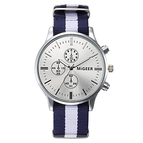 fenkoo Unisex Reloj de pulsera Quartz/cinta de tela Cómodo Blanco/Azul/Rojo marca, azul
