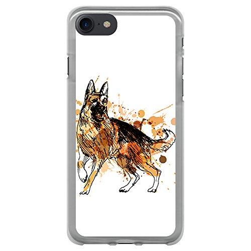 BJJ SHOP Custodia Trasparente per [ iPhone 7 ], Cover in Silicone Flessibile TPU, Design: Acquerello di Cane Pastore Tedesco
