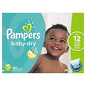 Pampers Baby-Dry Disposable Diapers Size 5 160 Count ECONOMY PACK PLUS