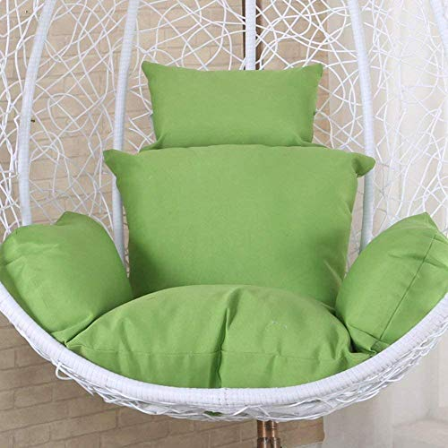 Egg Chair Seat Cushion Hanging Egg Hammock Chair Cushions without Stand Solid Color Wicker Swing Seat Cushion Thick Nest With Pillow Courtyard-sky Blue-Green iteration