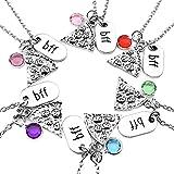 Jovivi gioielli, colore argento, fetta di pizza, gioiello dell'amicizia catene con incisione 'bbf', tag strass cristallo e Lega, colore: set, cod. jkz004101