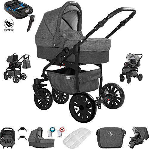Friedrich Hugo Berlin | 4 in 1 Kombi Kinderwagen + ISOFIX | Luftreifen | Farbe: Dark Grey and Grey Night