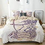 Juego de funda nórdica beige, rosas del zodiaco Sagitario y arquero centauro de pelo largo sobre fondo grunge teñido, juego de cama decorativo de 3 piezas con 2 fundas de almohada Easy Care Anti-Alérg