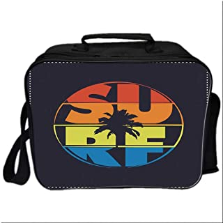 Modern Picnic Bag Cooler Bag,Surf Typography in Rainbow Colors Featured with Palm Tree Silhouette Illustration Decorative for Kids Boys Girls,10.6″Lx4.7″Wx8.2″H