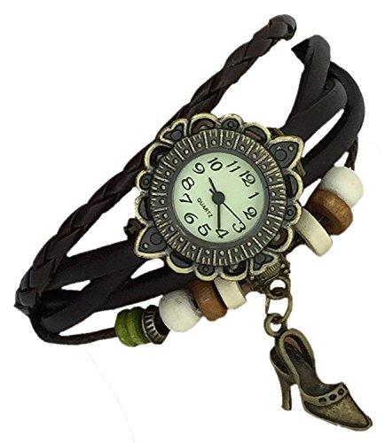 Boolavard®™ Retro Vintage clásico tacón Zapato Colgante Perlas Chicas señoras Cuarzo Floral...