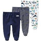 Vine Pack de 3 Pantalones para Bebé Niños Leggings con Pies de Algodón, 3-6 Meses