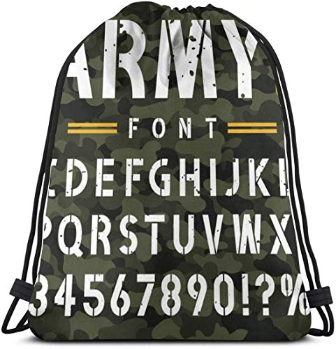 July good Military Stencil Font On Camouflage Vintage 3D Print Drawstring Backpack Rucksack Shoulder Bags Gym Bag For Adult 16.9