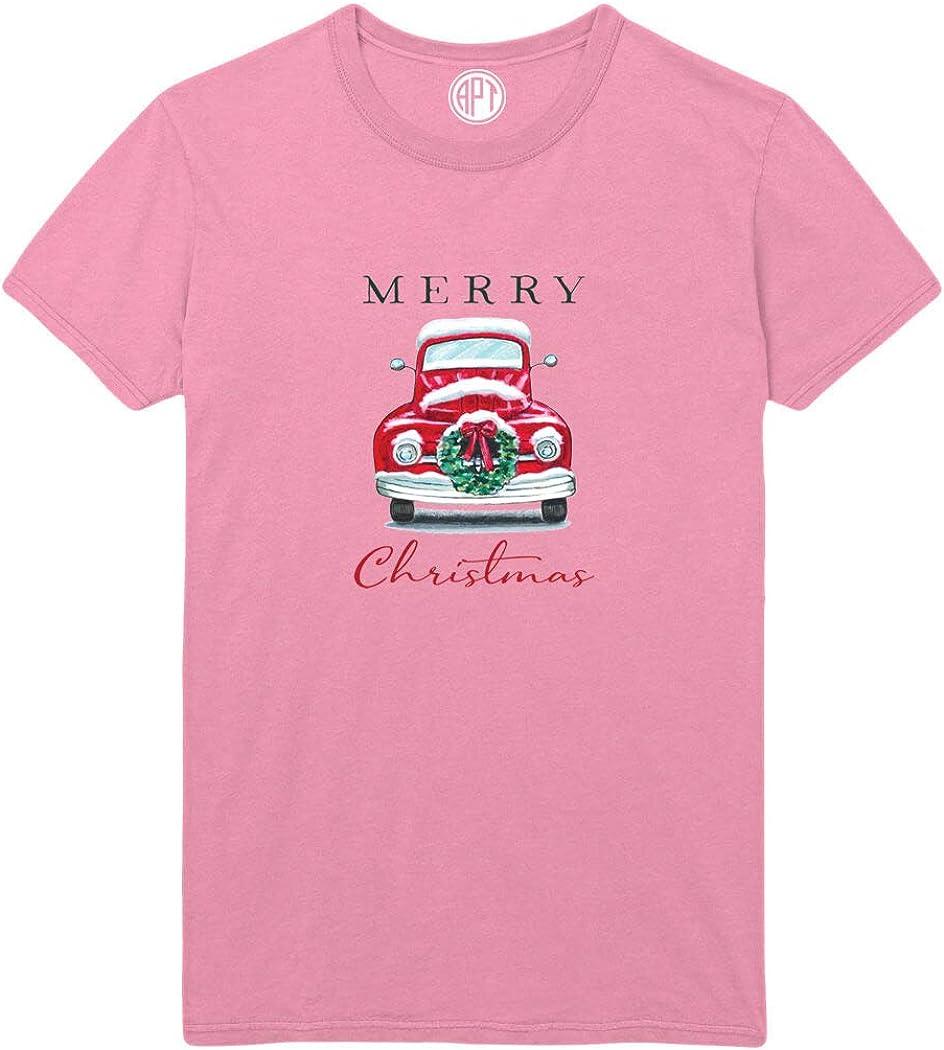 Merry Christmas Truck Wreath Printed T-Shirt