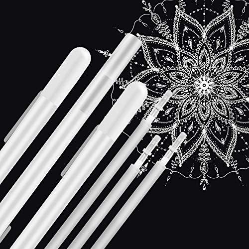 JUYOO Weißer Stift 10 Stück, 0,8 mm weißer gelstift zum zeichnen highlights, gelstift weiss zum zeichnen Highlight Stift Weiß Kunst Design Supplies