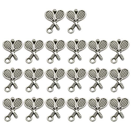 BESTOYARD 20 STÜCKE Antique Alloy Badminton Tennisschläger Anhänger Charms DIY Schmuckherstellung Zubehör für Halskette Armband (Antique Silver)