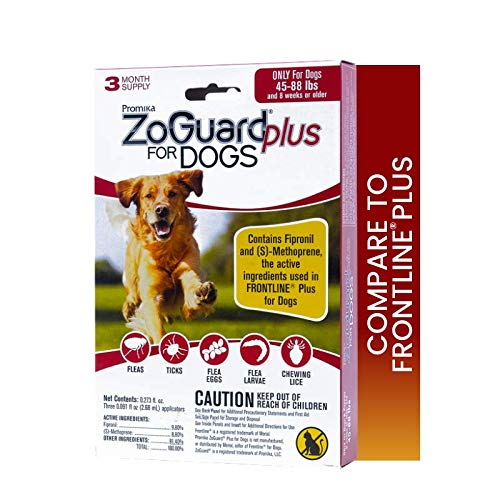 powerful ZoGuard Plus Dog Flea and Tick Prevention, Large, 45-88 lbs (3 Dose)
