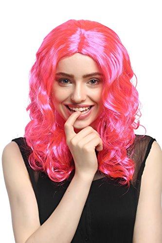 WIG ME UP - XR-010-PC5 Perücke Damen Karneval Fasching lang Volumen Locken lockig Mittelscheitel Rosa Pink 50 cm
