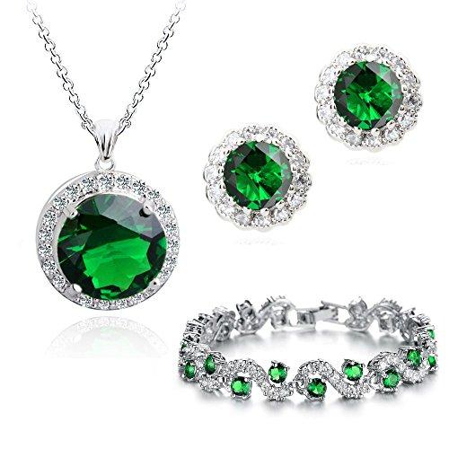 Crystalline - Juego de collar, pulsera y pendientes en oro de 18 quilates con cristales Swarovski, color verde