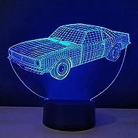 3DイリュージョンランプLEDナイトライトデコレーションカーテーブルランプメタクリレートルミナスプレートデスクランプ省エネアンビエントバルブ