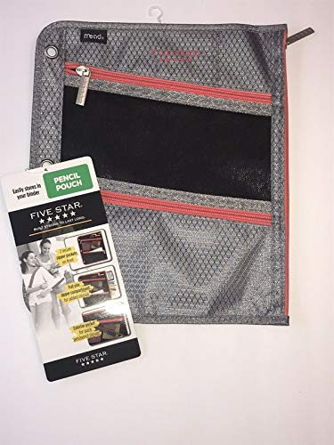 Five Star Zipper Pouch, Pencil Pouch, Pen Holder, Fits 3 Ring Binders, Black/Gray