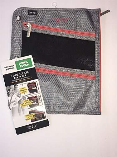 "Five Star Flat Zipper Pencil Pouch, 11"" x 9"", Black/Gray (500001QG0-WMT)"