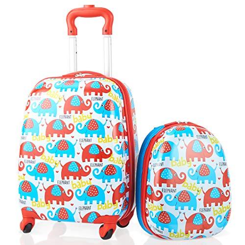 DREAMADE DREAMADE 2tlg. Kinderkoffer mit Rucksack, Koffer Set Kinder Koffer, Kindertrolley Kindergepäck Handgepäck für Mädchen und Jungen, Reisegepäck Hartschalenkoffer (Rot)