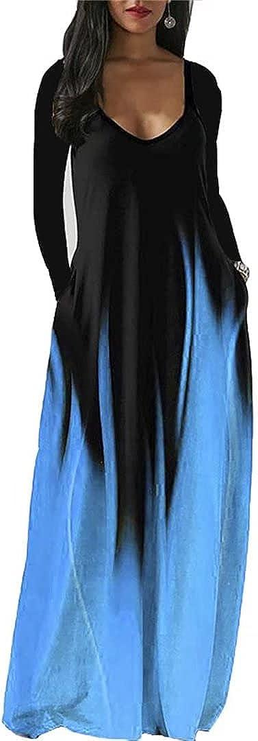 Molisry Women Casual Long Sleeve Dress Deep V Neck Loose Maxi Wrap Dresses Plus Size with Pocket