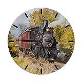 Arte Locomotora Tren Vapor Mini Diseño Impreso Patrón temático Reloj de Pared Cama de Estar Comedor Dormitorio Escritorio en el hogar Arte Dormitorio Sin tictac