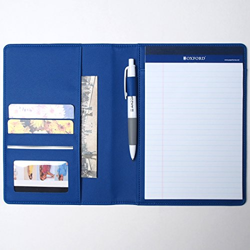 AHZOA Colorful 4 Pockets A5 Size Memo Padfolio S1, Including 5 X 8 Inch Legal Writing Pad, Synthetic Leather Handmade About 6.3 X 8.7 Inch Folder Clipboard Holder (Blue)