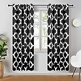 Topfinel Blackout Vorhang mit Ösen Wärmeisoliert Verdunklungsvorhänge mit Bedruckten Mustern für Wohnzimmer Schlafzimmer 2er Set je 225x140cm (HxB) Beige und Schwarz