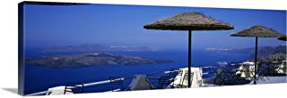GREATBIGCANVAS Gallery-Wrapped Canvas Table and Chairs on a Balcony, Santo Winery, Fira, Oia, Santorini, Greece by 48