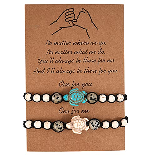 Bohemian Turquoise Beaded Little Turtle Braided Bracelet Adjustable Bangle Birthday Gifts for Girlfriend Boyfriend (bracelet set)