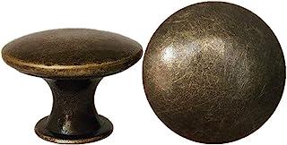 DFHM 25 Pomos y Tiradores Vintage Bronce, Pomo Antiguos Laton Redondo Clásicos Para Cajones y Puertas de Cocina Armario