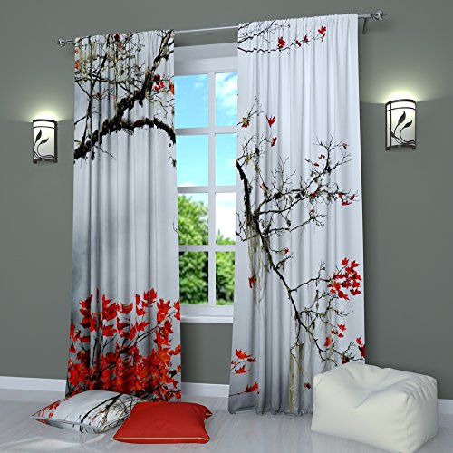 Black and White Curtains Window Panels Print Asian Japanese Style Tree Branch with Red Leaves - Set of 2 - Rod Pocket W84 x L84 Drapes for Living Room Bedroom Kitchen
